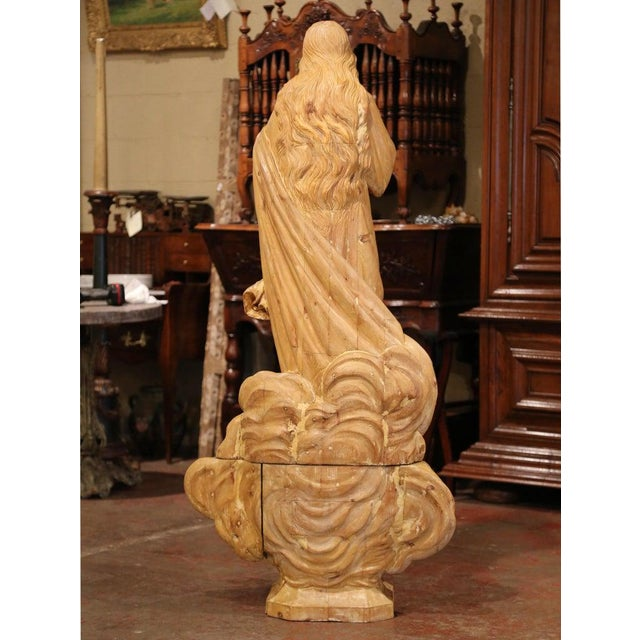 French Early 19th Century French Carved Pine Religious Figure on Carved Cloud Form Base For Sale - Image 3 of 13