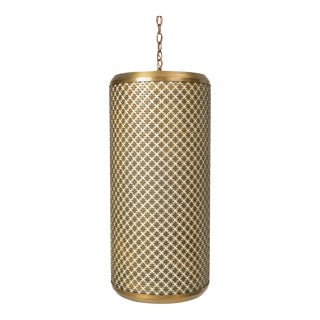 Single Metal Grated Pendant Lamp by the Feldman Company For Sale