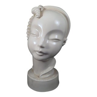 Art Deco Female Porcelain Bust Sculpture For Sale