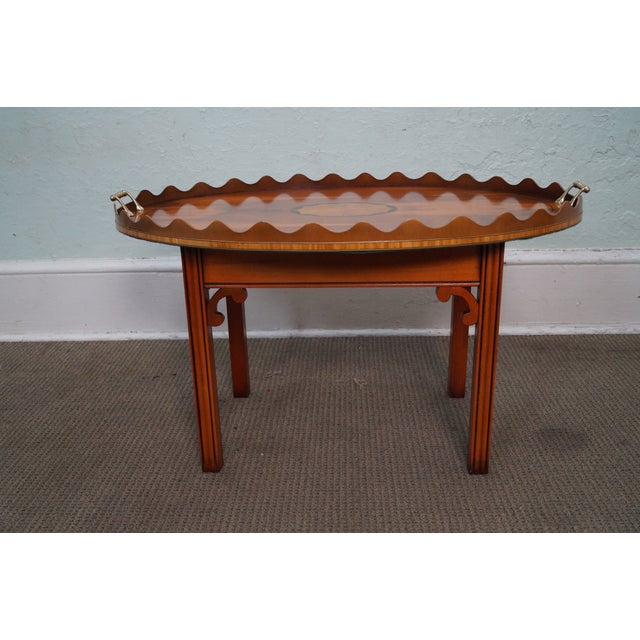 English Yew Wood Inlaid Tray Top Coffee Table - Image 7 of 10