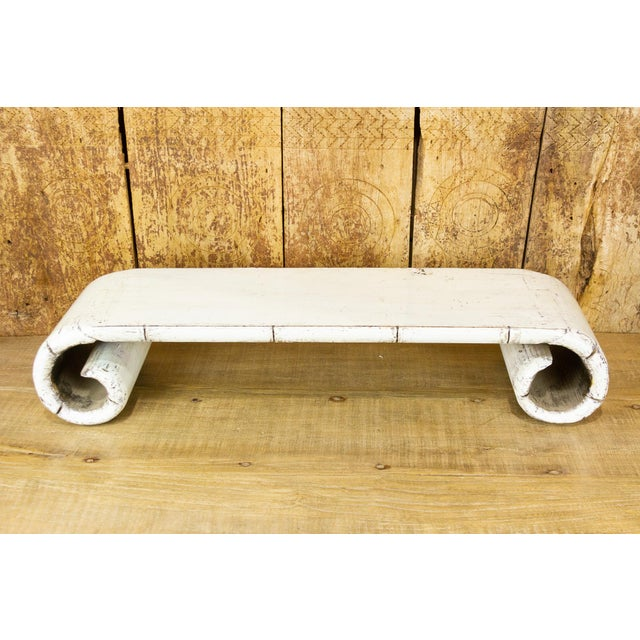 Asian Low Altar Whitewashed Scroll Table For Sale - Image 3 of 8