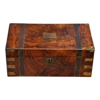 Antique Campaign Chest Lap Desk Box W Black Leather Interior For Sale