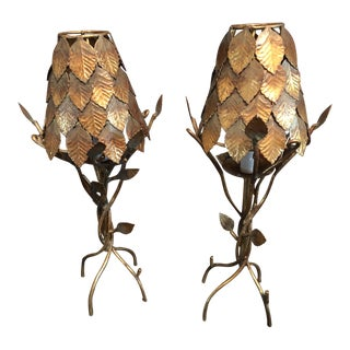 Mid 20th Century Brass Branch Lamps - a Pair For Sale