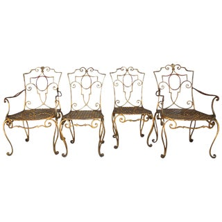 French Moderne Gold Gilt Iron Chairs by Jean-Charles Moreux - Set of 4 For Sale