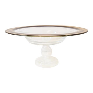 20th Century TraditionalRound Glass Serving Bowl on Pedestal For Sale