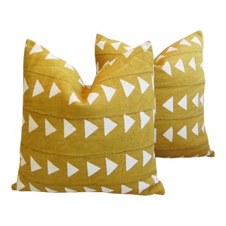 Gold & Cream Boho Chic African Mali Mud Cloth Tribal Textile Pillows - Pair For Sale