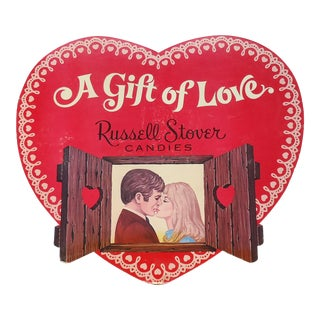 1970s Vintage Valentine's Chocolate Heart Shop Sign For Sale