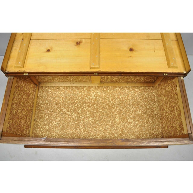 Gold Large Vintage Knotty Pine Wood Blanket Chest Trunk Storage For Sale - Image 8 of 12