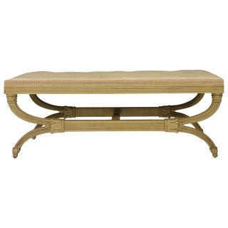 1950s Classical Carved Wood Bench For Sale