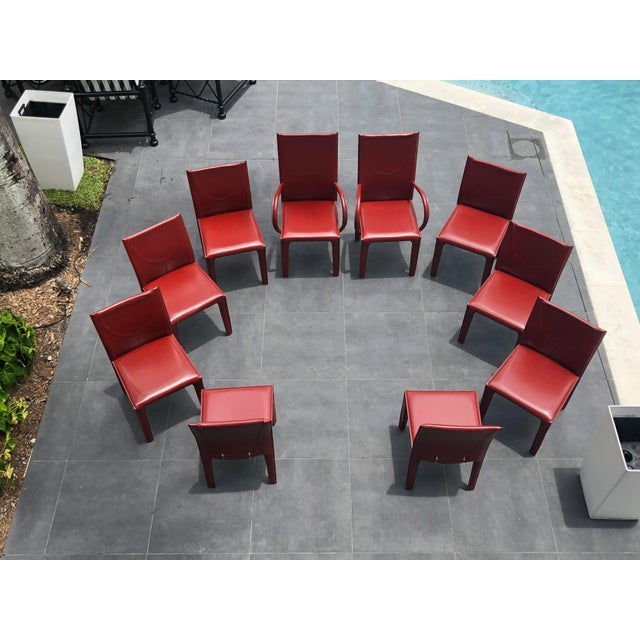 1970s Mid-Century Modern Italian Leather Dining Chairs- Set of 10 For Sale - Image 9 of 9