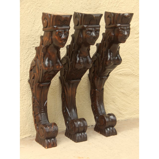 Three Swedish Art Deco Mermaid Shelf Brackets - Image 7 of 7