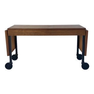 Vintage Rolling Wood and Black Metal Extendable Bench For Sale