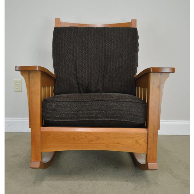 Stickley Mission Collection Solid Cherry Rocker For Sale - Image 10 of 13