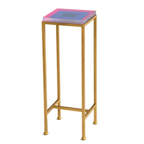 Wendy Concannon Contemporary Ellsworth Acrylic Drinks Table – Base: Gold, Top: Squares Pink/Navy For Sale - Image 4 of 4
