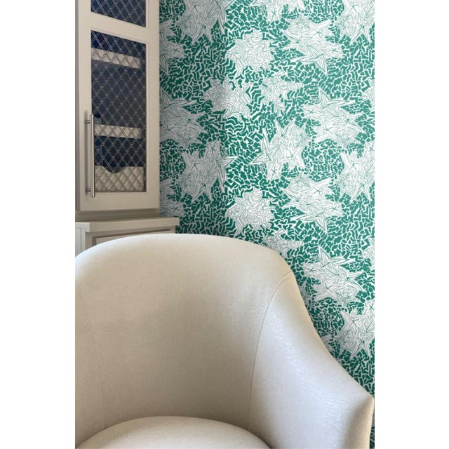 """""""ZEBRA STAR EMERALD"""" wallpaper adds a bright pop with its crisp white background and lively design. A wallpaper pattern..."""