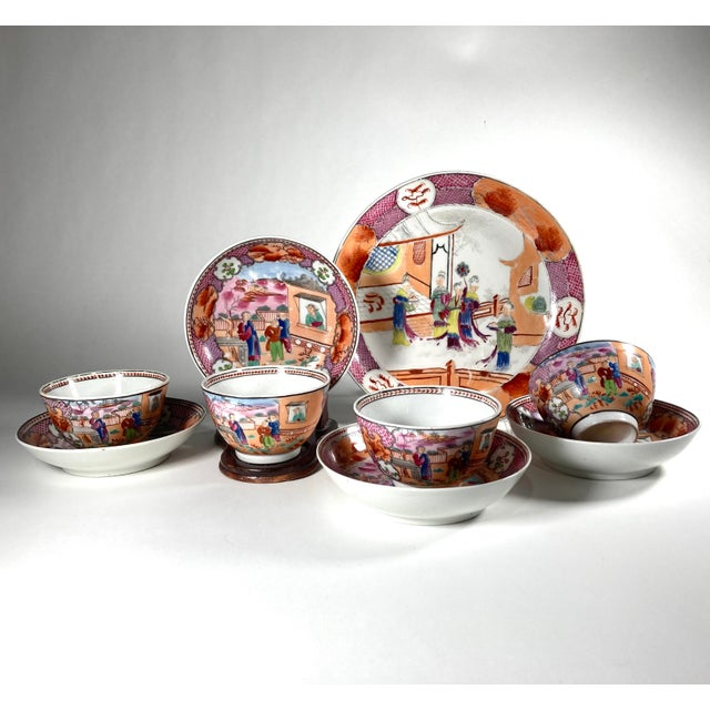 "Pink Early 19th Century English Georgian Chinoiserie New Hall ""Boy in Window"" Breakfast Set for 4 For Sale - Image 8 of 8"