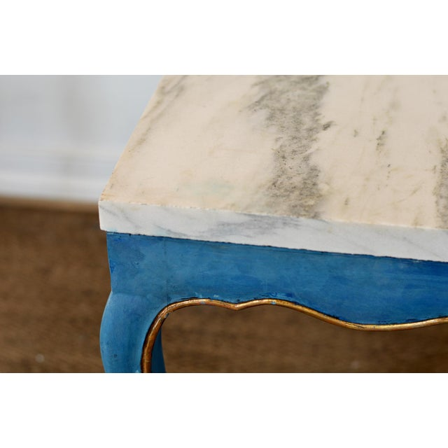 Italian Marble Top Cocktail Table in the Louis XV Style With Hoof Feet For Sale - Image 4 of 9
