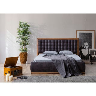 Mid-Century Modern Cleo Upholstered Wood California King Bedframe Preview