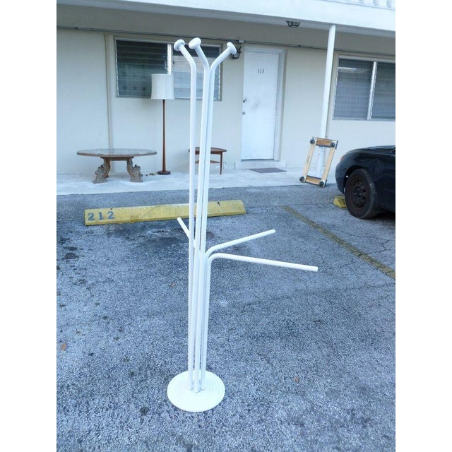 Italian 20th Century Italian Architectural Space Age White Enamel Coat Rack For Sale - Image 3 of 7
