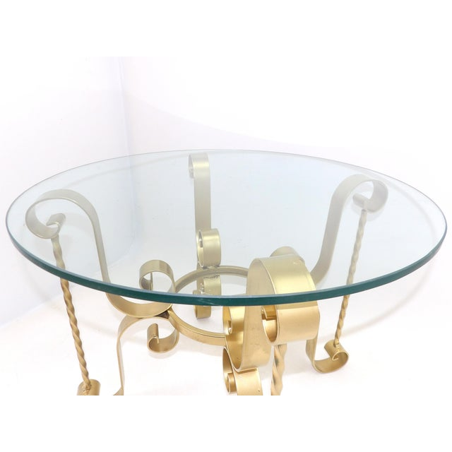 Gold 1960's Mid Century Modern Wrought Iron Round Glass Side Table For Sale - Image 8 of 10