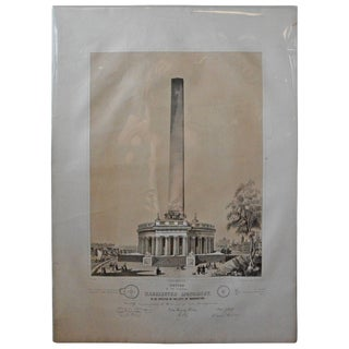 Mid-19th Century Washington Monument Broadside Lithograph For Sale