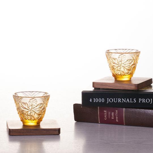 "Amber ""To Drink Amongst Flowers"" Crystal Sake Glasses in Light Amber - Set of 4 For Sale - Image 8 of 11"