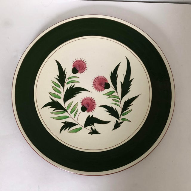"1970s Midcentury Stangl Pottery Thistle 14.5""d Serving Platter For Sale - Image 5 of 6"