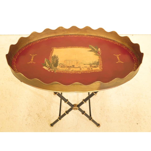 Sarried tole paint decorated serving tray table. Features quality construction and nice paint decorated details.