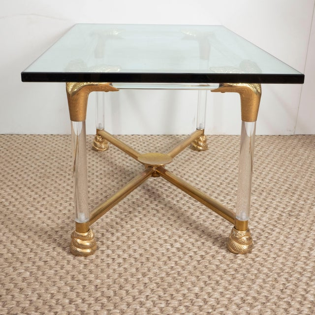 Brass and Glass Python Cocktail Table For Sale - Image 9 of 10