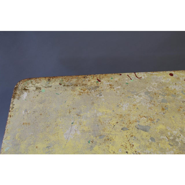 1950s Folding Painted Metal Bistro Table With Red Legs For Sale - Image 5 of 7