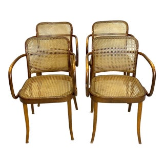 Rare Antique Stendig Set of 4 Bentwood French Stitched Nylon Cane Wood Dining Chairs For Sale