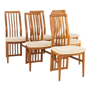 1960s Mid-Century Modern Kai Kristiansen for Schou Andersen Teak Highback Dining Chairs - Set of 6 For Sale