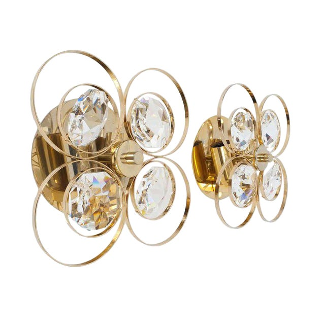 Gilded Brass Crystal Glass Bakalowits Sconces, Austria 1960 For Sale