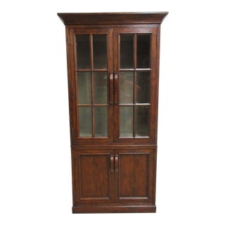 Jonathan Charles Distressed Plank Walnut China Curio Cabinet For Sale