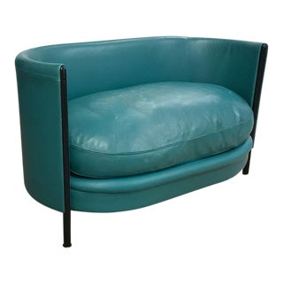 Mid Century Memphis Group Ettore Sottsass Style Leather Love Seat For Sale