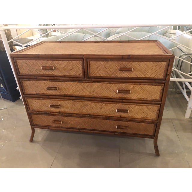 Vintage E. Murio Chinoiserie Tropical Rattan Burnt Bamboo Grasscloth Chest of Drawers Dresser Credenza For Sale In West Palm - Image 6 of 13