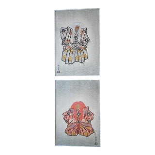 Vintage Mid 20th C. Signed Japanese Woodblock Prints-Noh Players-Akitoyo Inoue-A Pair-Framed For Sale