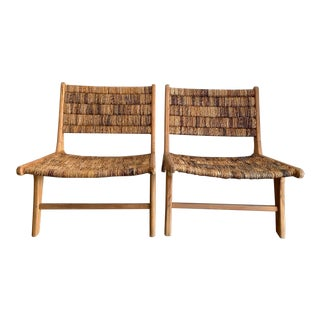 Teak & Rattan Side Chairs - a Pair For Sale