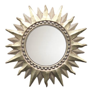 Vintage Golden Gilt Convex Sunburst Mirror For Sale