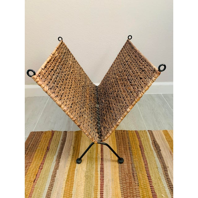 Brown Iron and Wicker Magazine Rack Holder Vintage Mid Century Umanoff Style For Sale - Image 8 of 10