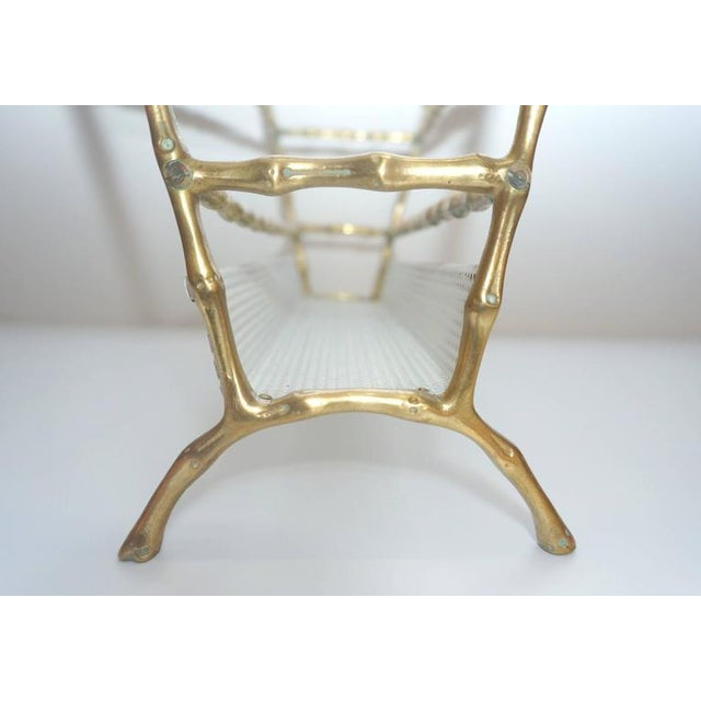 Hollywood-Regency Style, Faux-Bamboo Magazine Stand, Bronze and Enameled Metal For Sale - Image 4 of 10