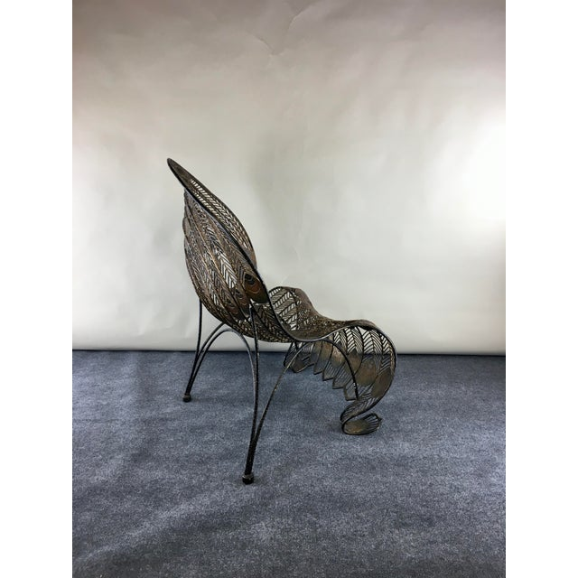 1990s Wrought Iron Sculptural Peacock Chair by Artmax For Sale In Chicago - Image 6 of 11