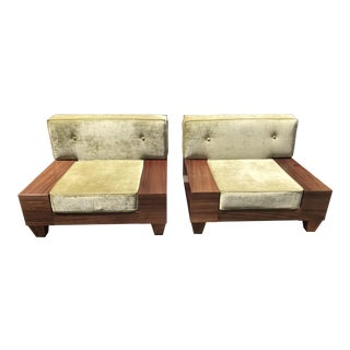 Mid-Century Custom Platform Club Chairs - a Pair For Sale