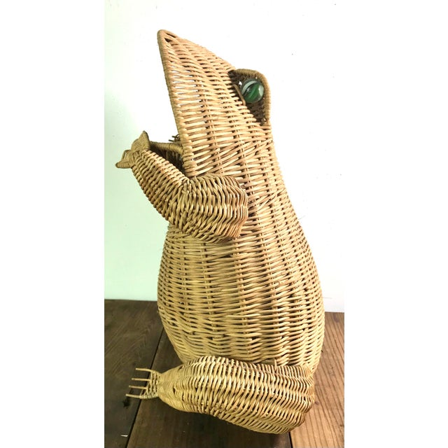 1970s Mid Century Wicker Frog Basket With Glass Marble Eyes For Sale - Image 9 of 9