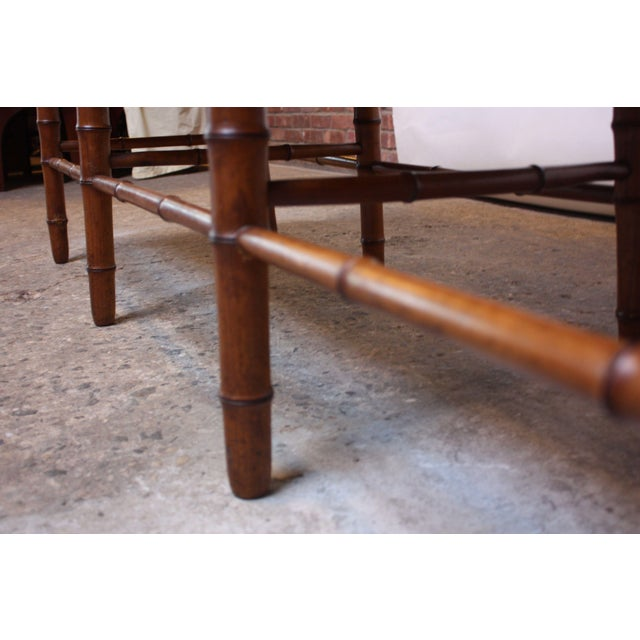 Mid-20th Century Faux-Bamboo Settee Bench in Cherrywood For Sale - Image 10 of 11