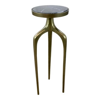 Regina Andrew Modern Black Marble and Brass Finished Accent Table For Sale