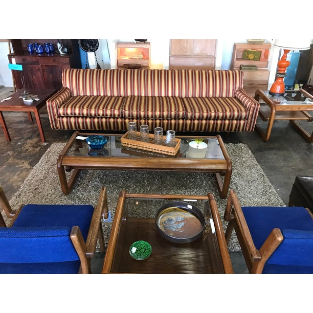 Mid Century sofa from 1960's with original silk stripe fabric in style of Milo Baughman. It has (3) seat cushions and...