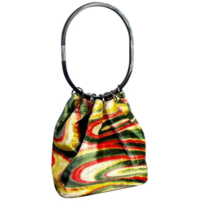 529bbbceefe1 Fw 1999 Gucci by Tom Ford Runway Psychedelic Swirl Silk Velvet Hoop Bucket  Bag