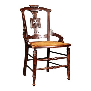 East Lake Mahogany Woven Cane Chair For Sale