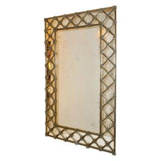 1940s Italian Antique Venetian Geometric Amber Gold Murano Glass Mirror For Sale